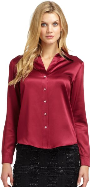 Plus Size Red Satin Blouse 96