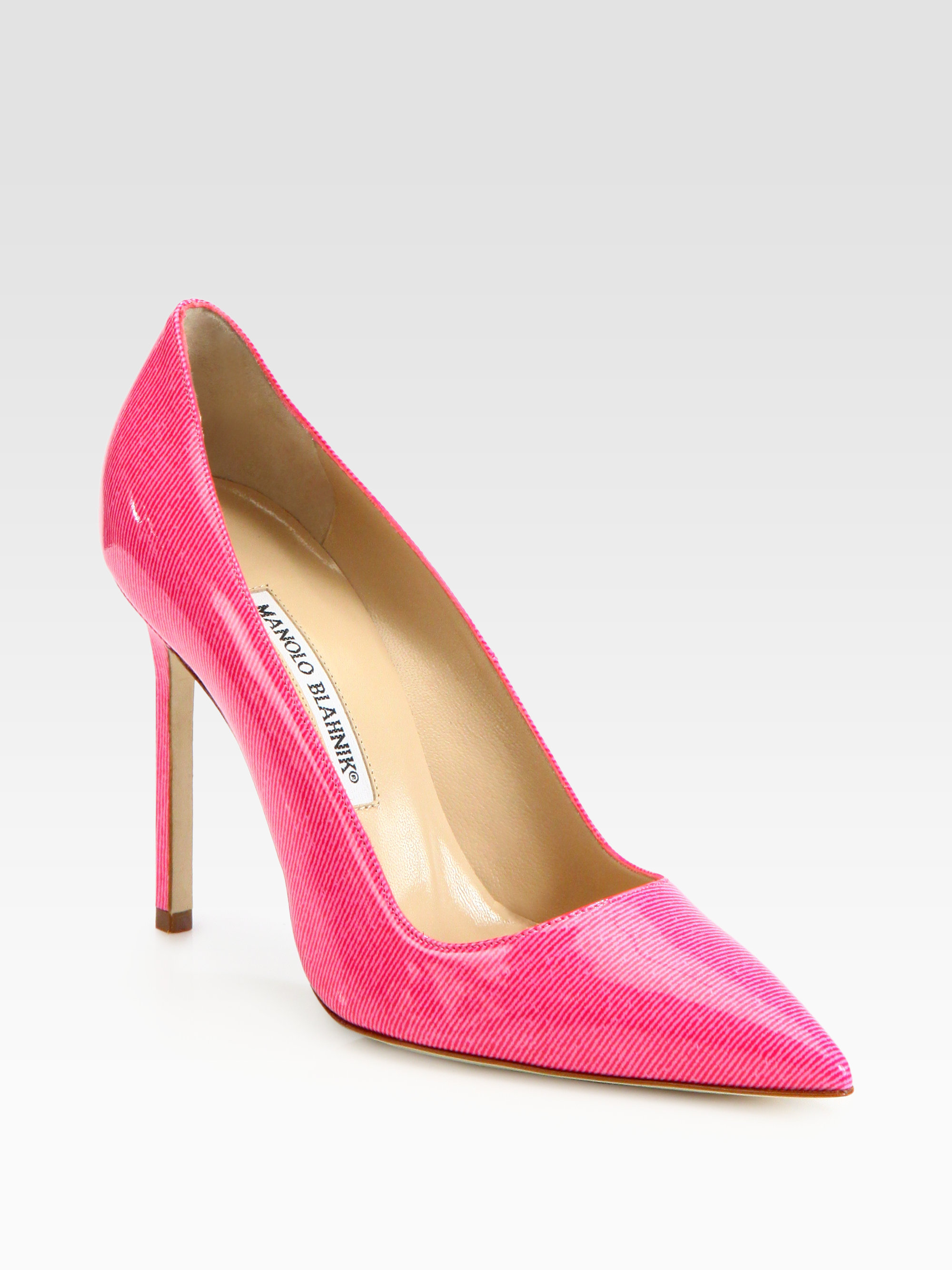 manolo blahnik bb denimprint patent leather pumps in pink