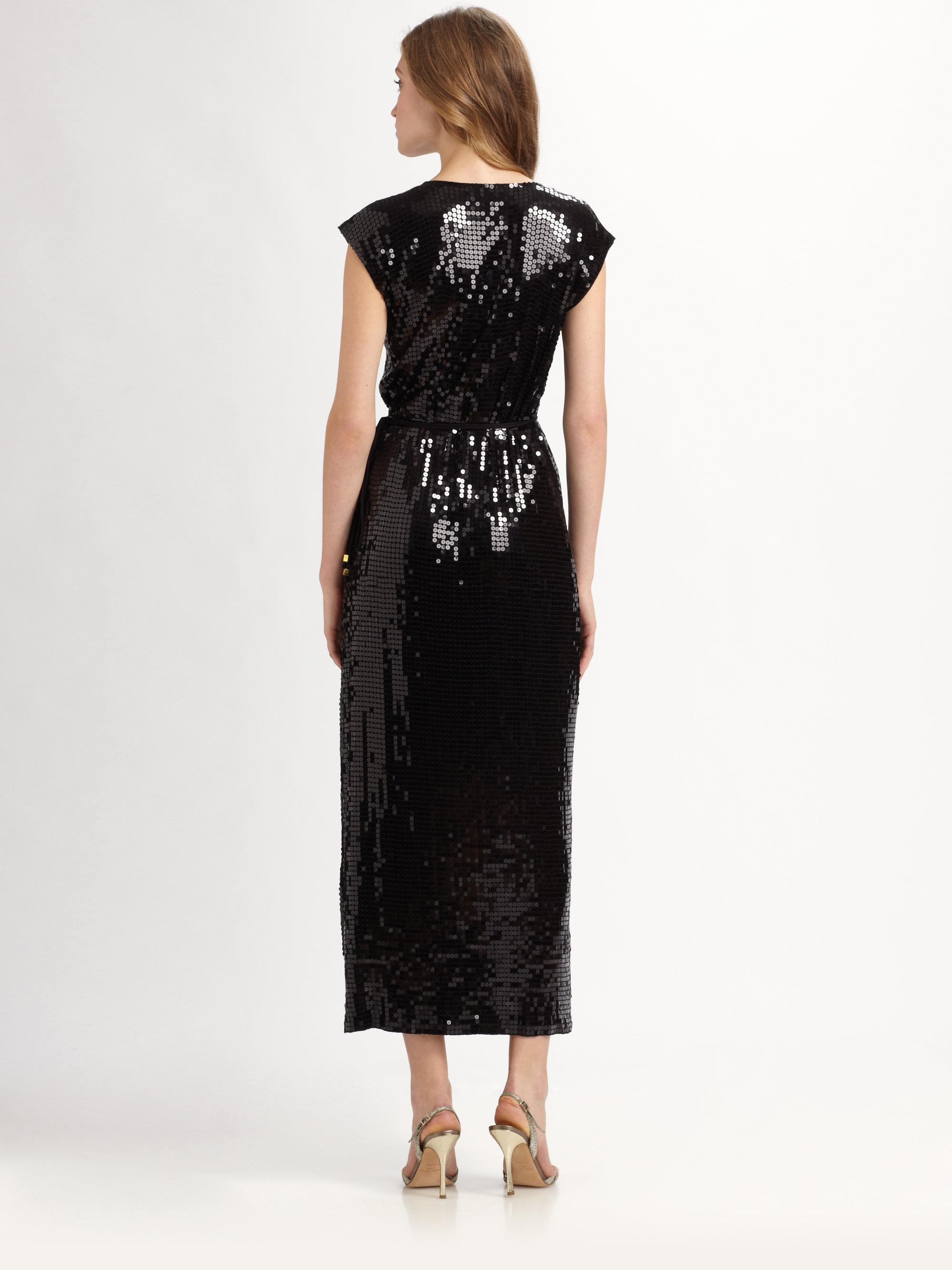 Lyst Michael Michael Kors Sequin Wrap Dress In Black