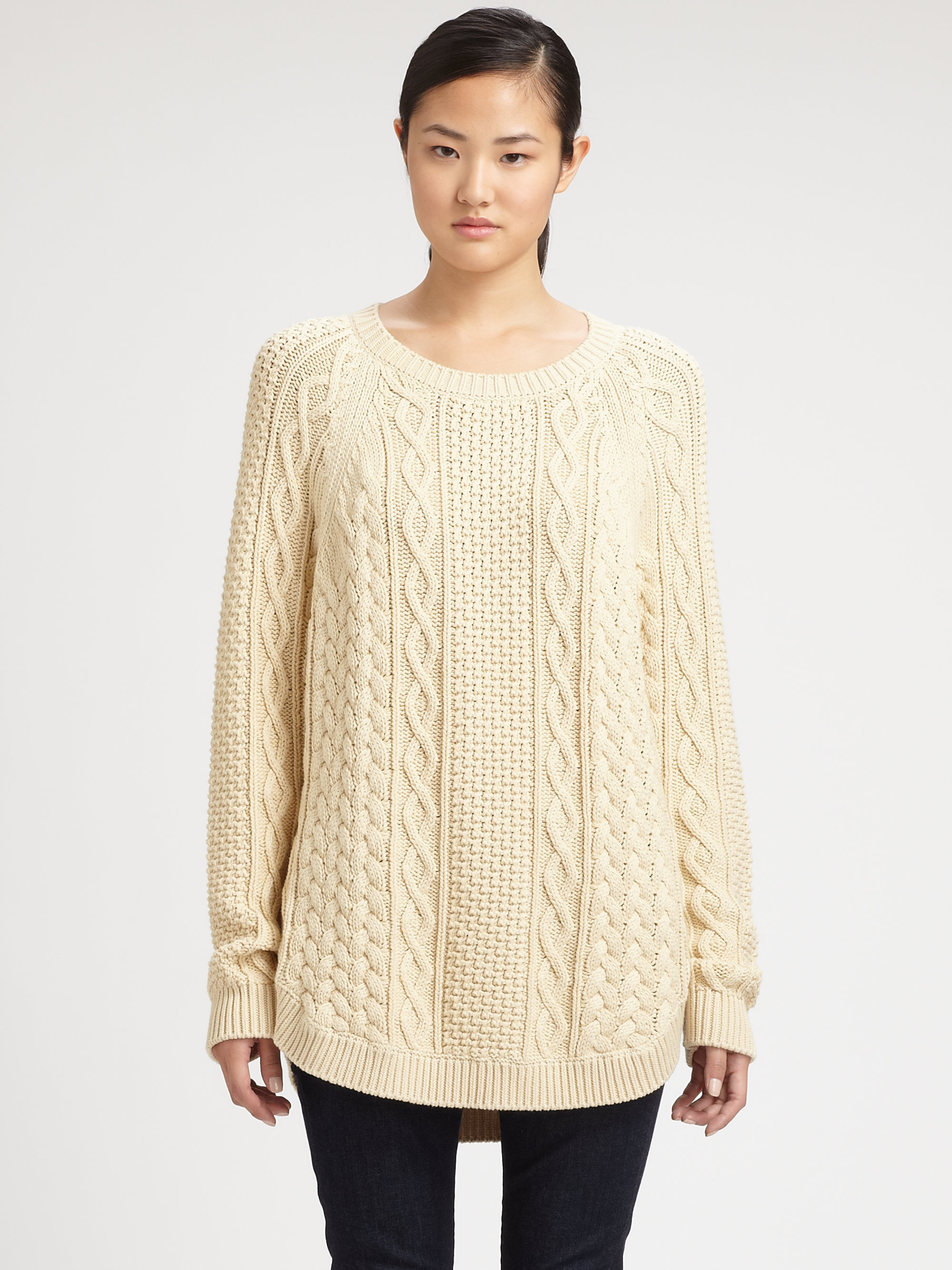 Michael michael kors Fisherman Cableknit Sweater in Natural | Lyst
