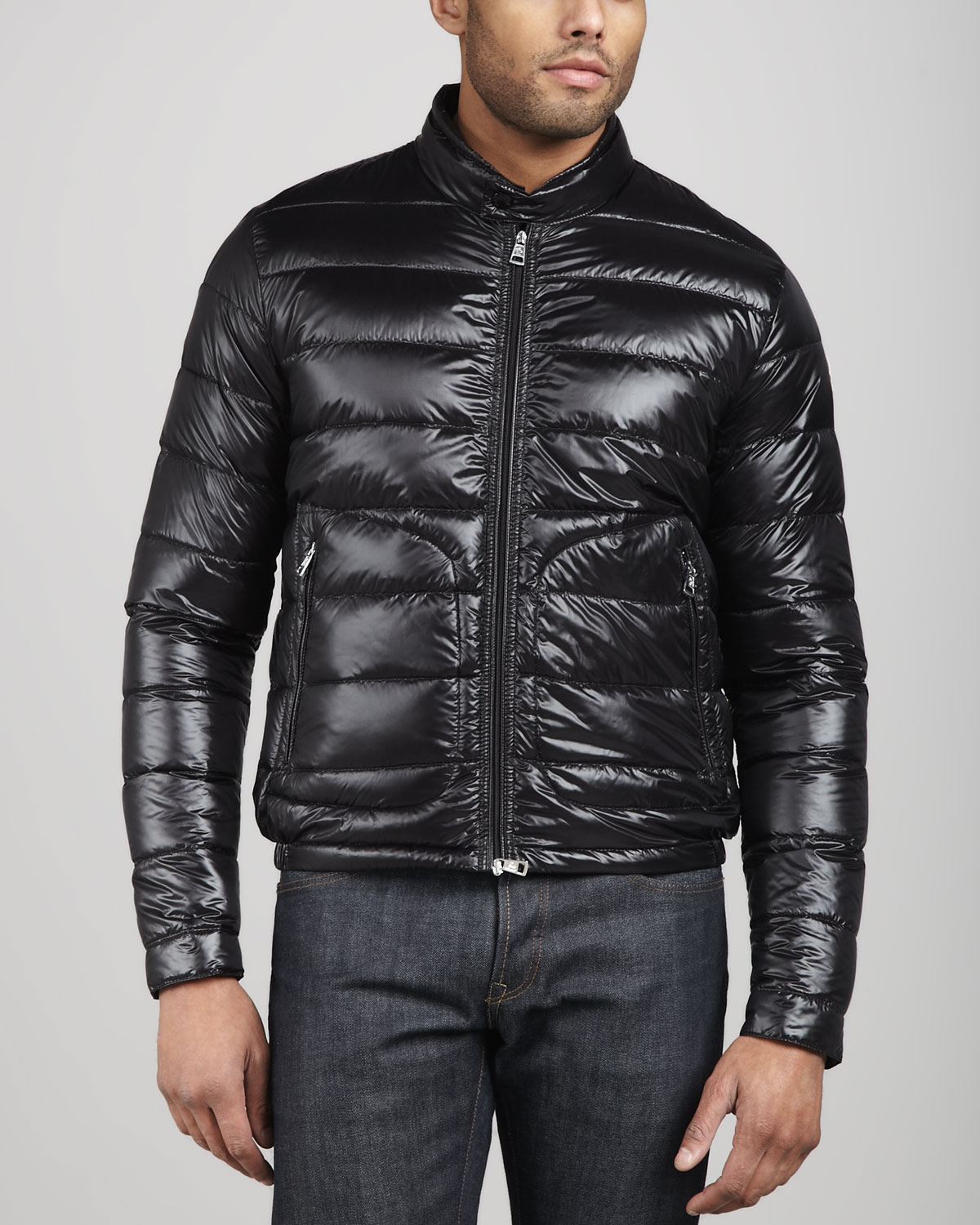 moncler acorus puffer moto jacket black in black lyst. Black Bedroom Furniture Sets. Home Design Ideas