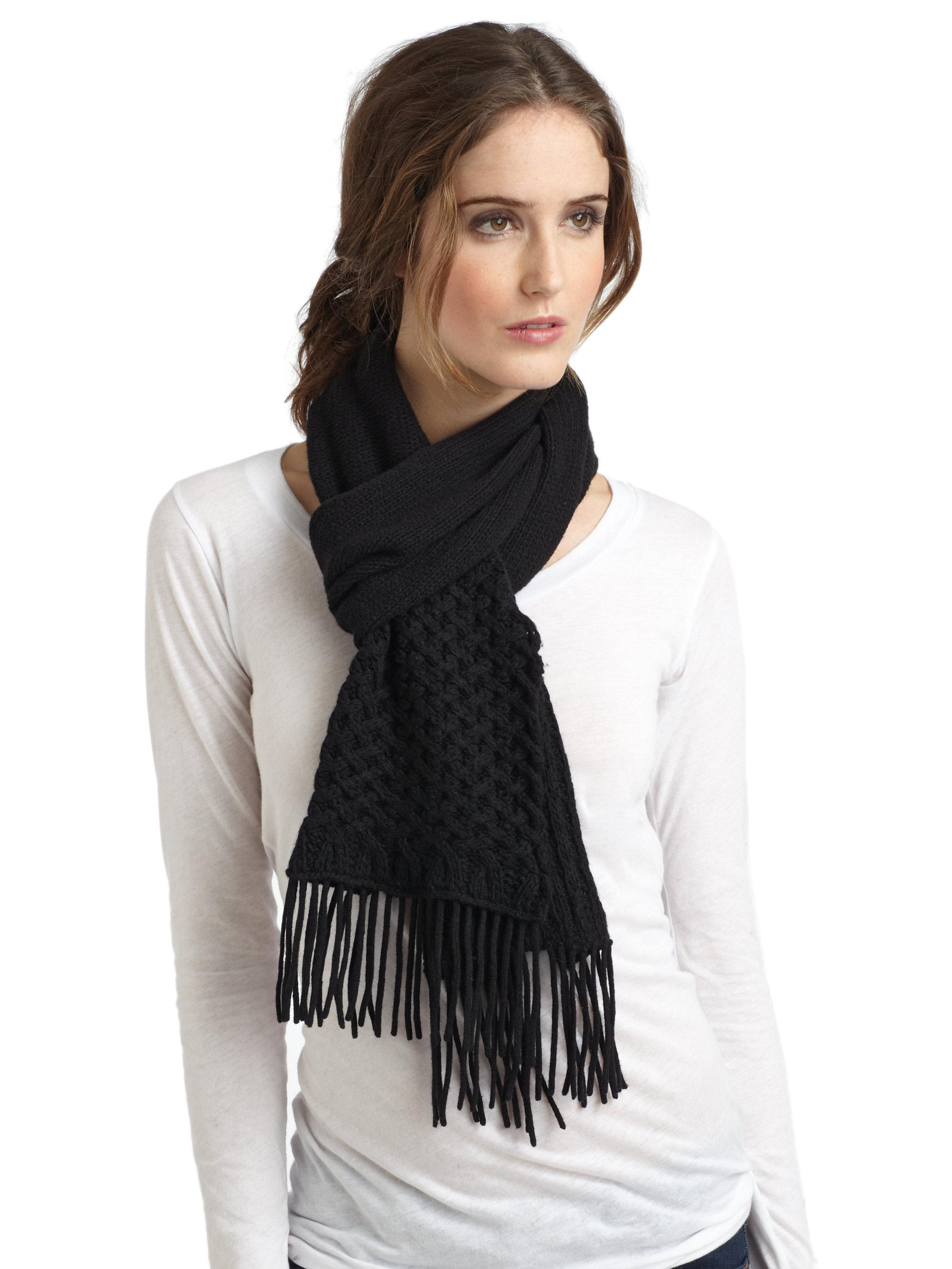 portolano basket weave scarf in black lyst