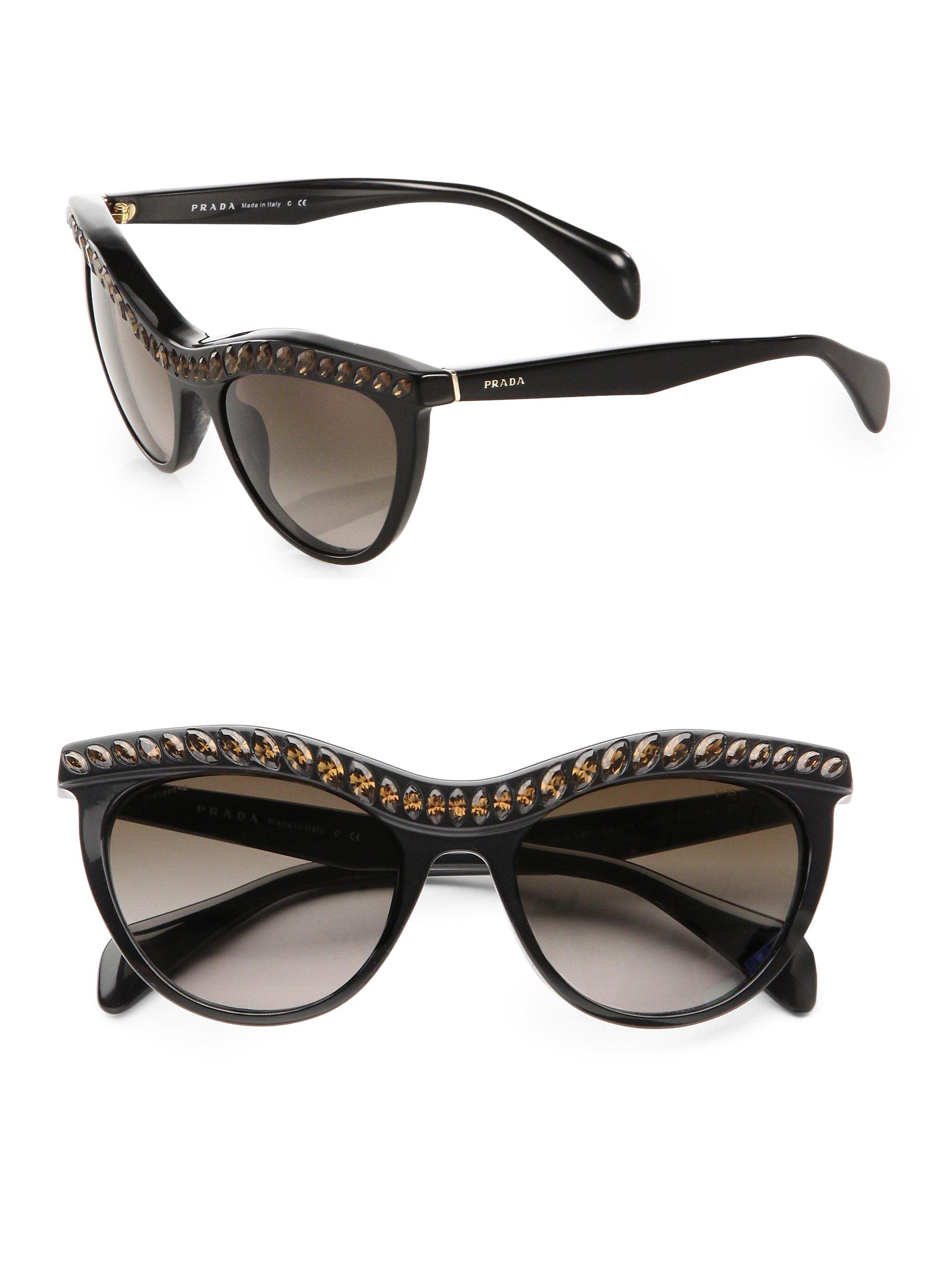 e36869b249bc Lyst - Prada Crystal Cats-Eye Sunglasses in Black