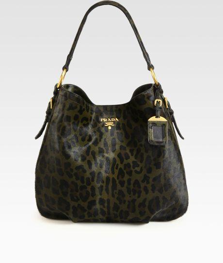 Prada Cavallino Leopard Print Hair Calf Hobo in Black (olive-black) - Lyst