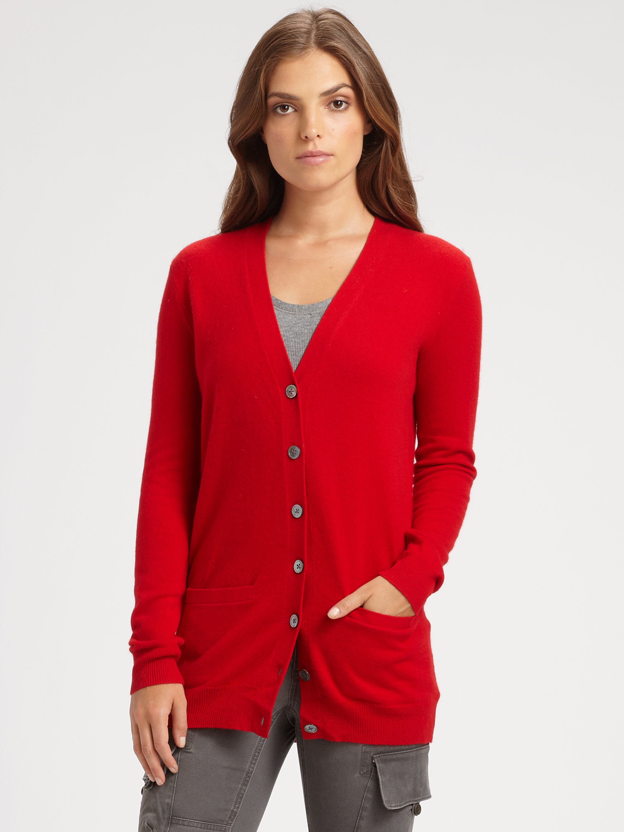 Cashmere Red Cardigan - Gray Cardigan Sweater