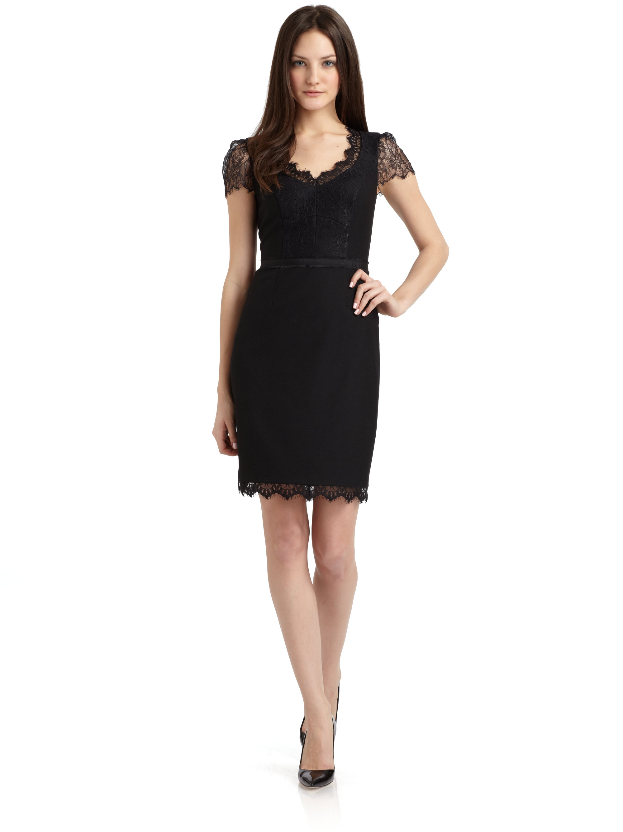 Gallery For > Black Dress With Lace Cap Sleeves