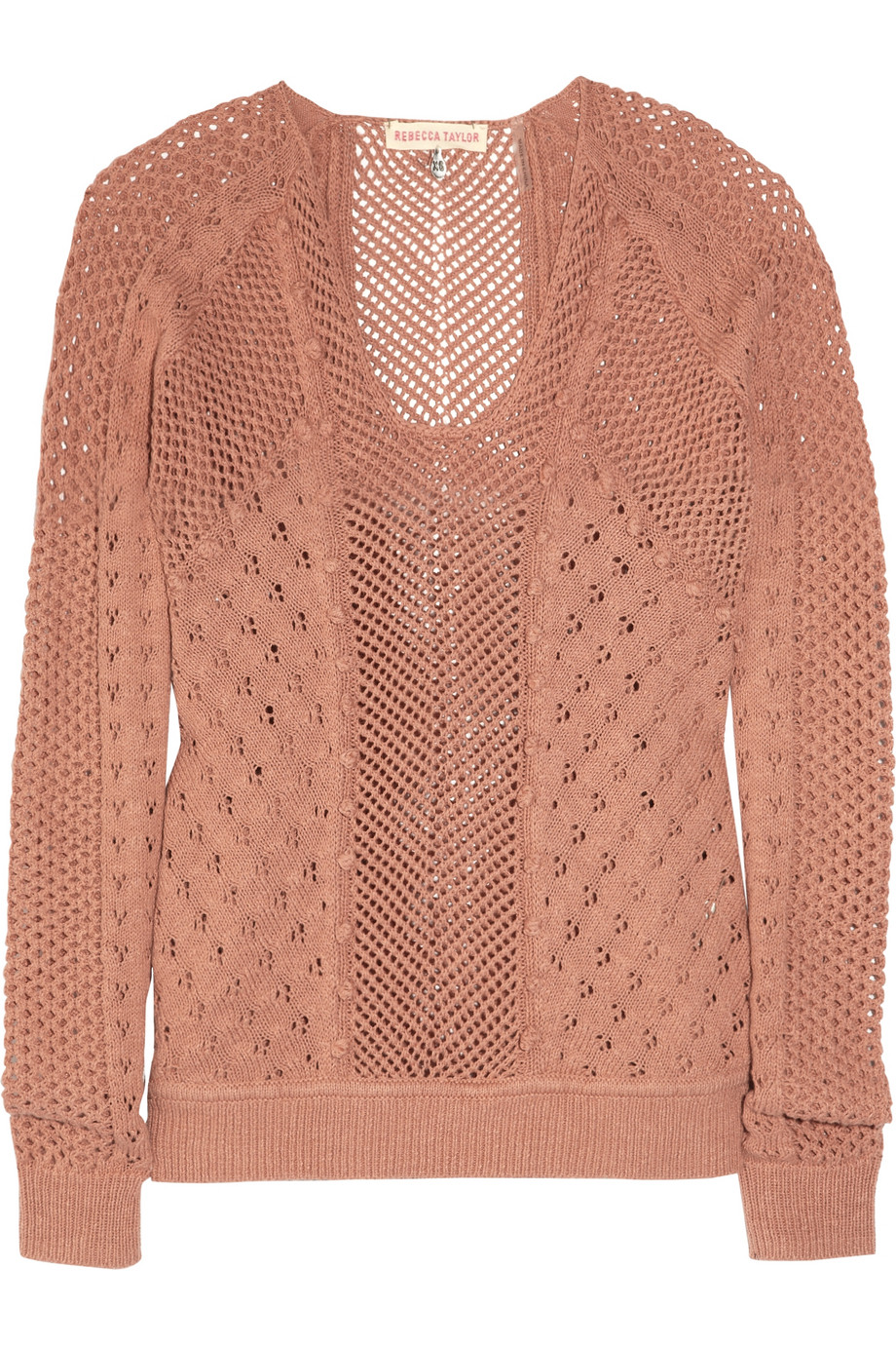 Rebecca taylor Cotton Pointelle Cardigan in Pink | Lyst