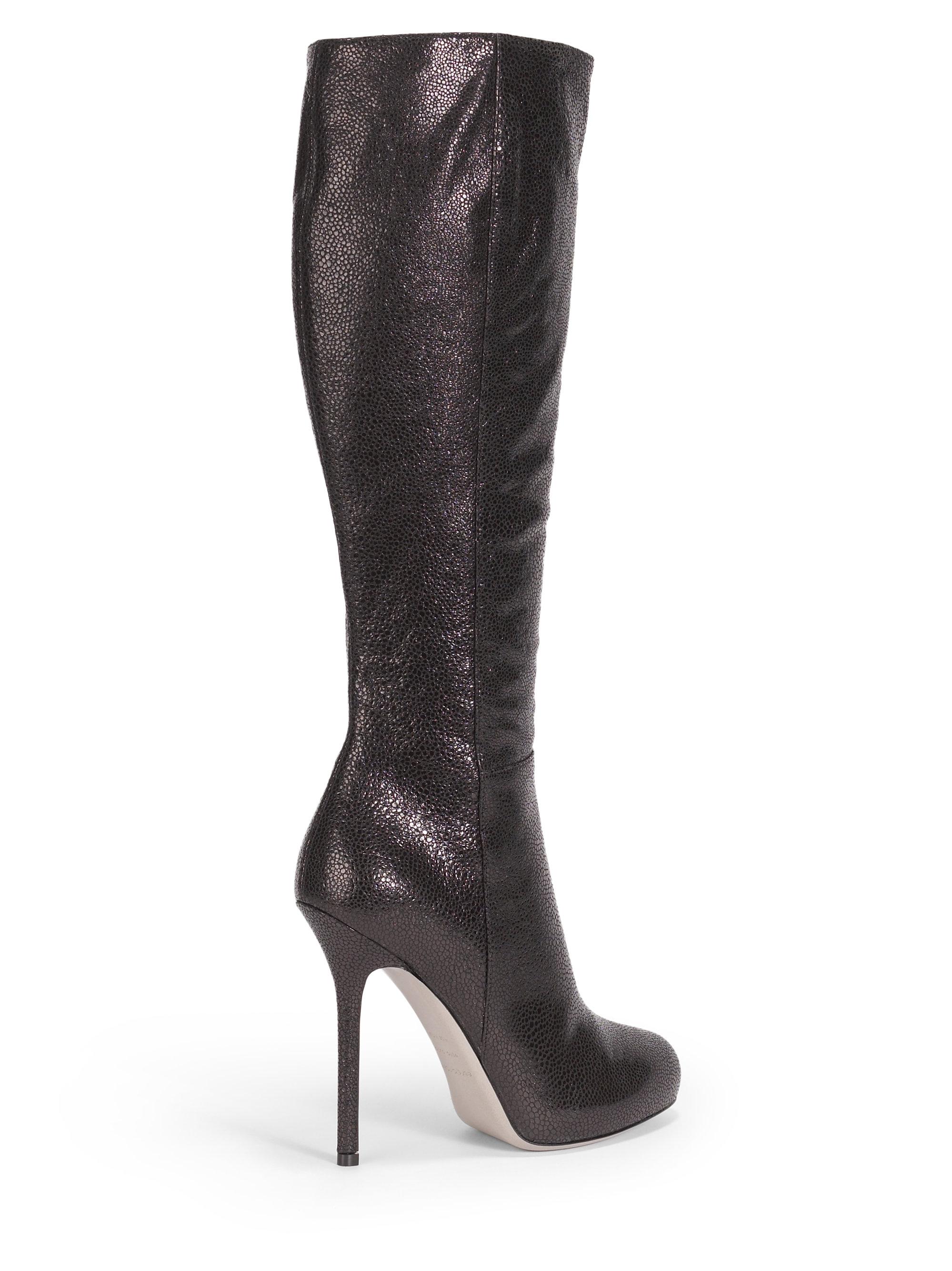 sergio pressed suede platform boots in black