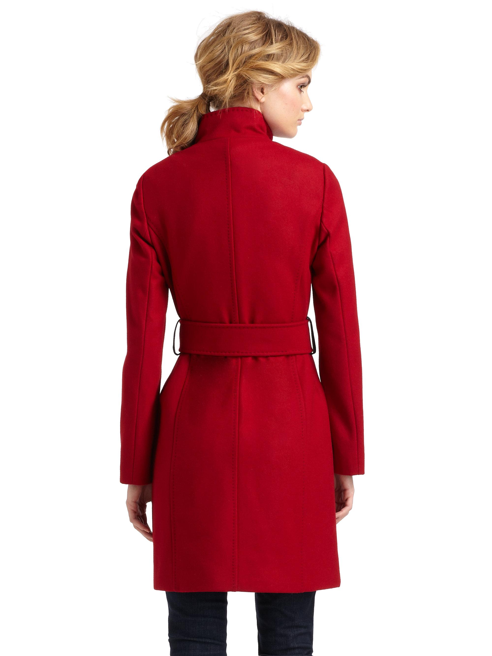 Via Spiga Stand Collar Coat In Red Lyst