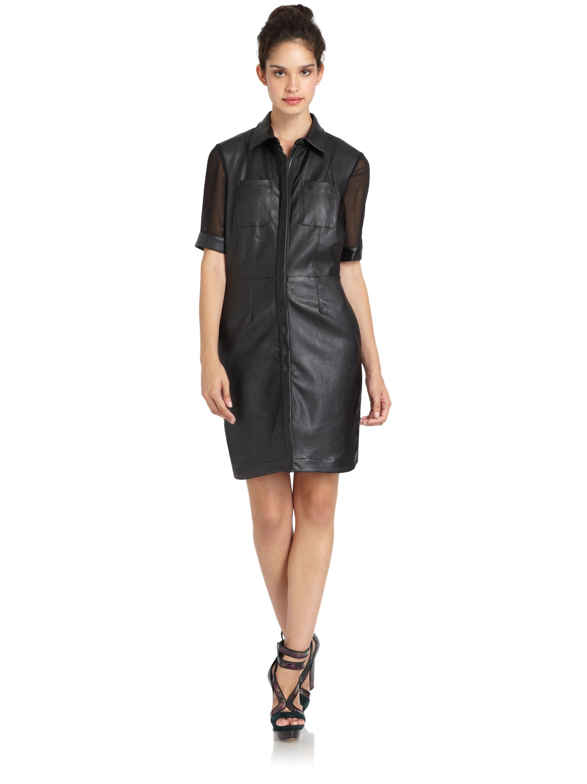 W118 By Walter Baker Sylvie Faux Leather Dress In Black Lyst