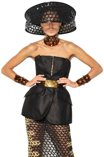 Alexander Mcqueen Honeycomb Silk Organza Jacquard Dress in Black