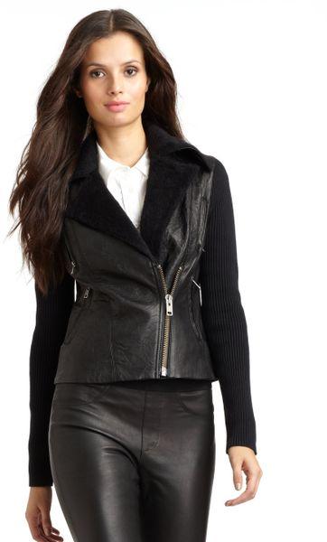 Catherine Malandrino Black Cropped Leather Jacket in Black   Lyst