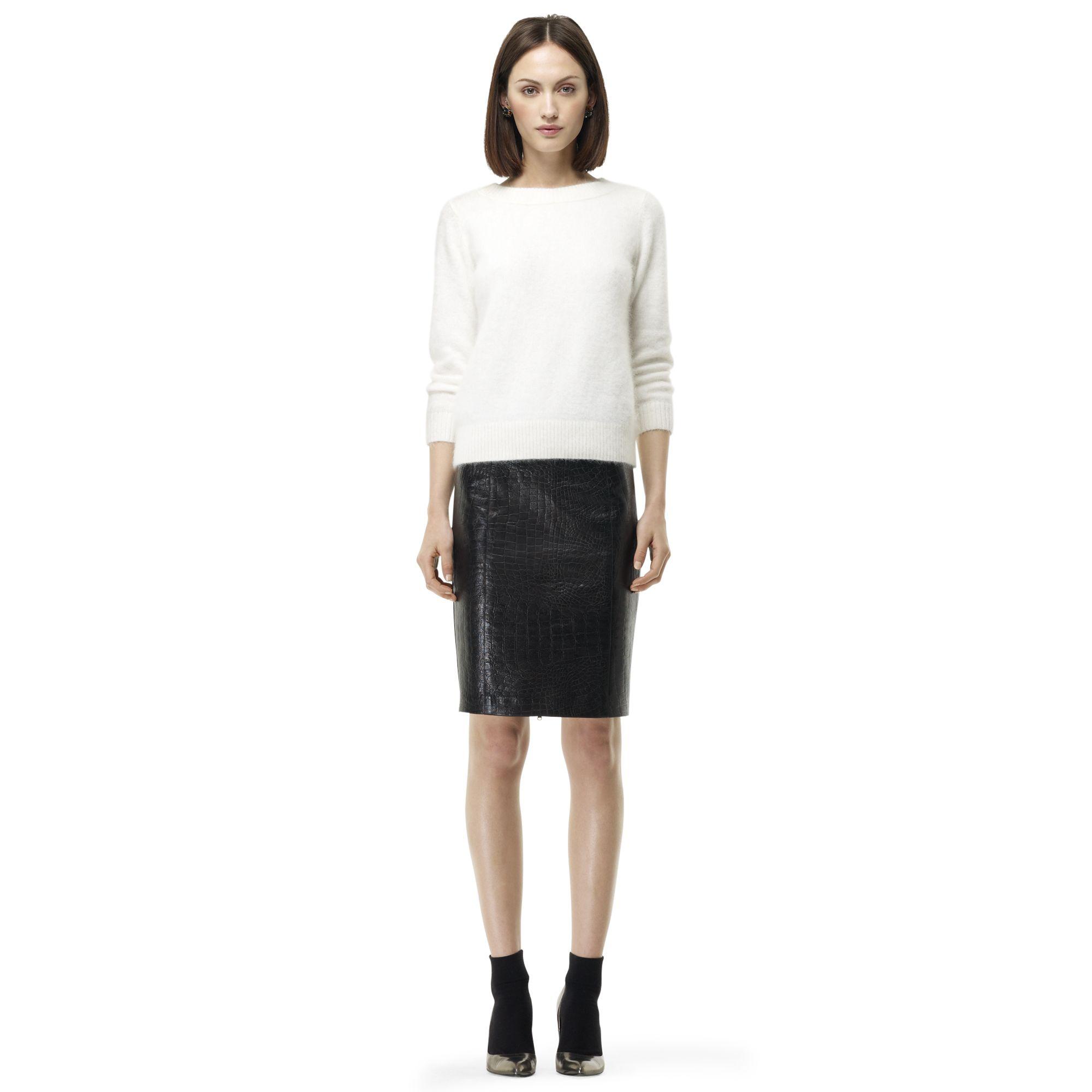 club monaco macee leather skirt in black lyst