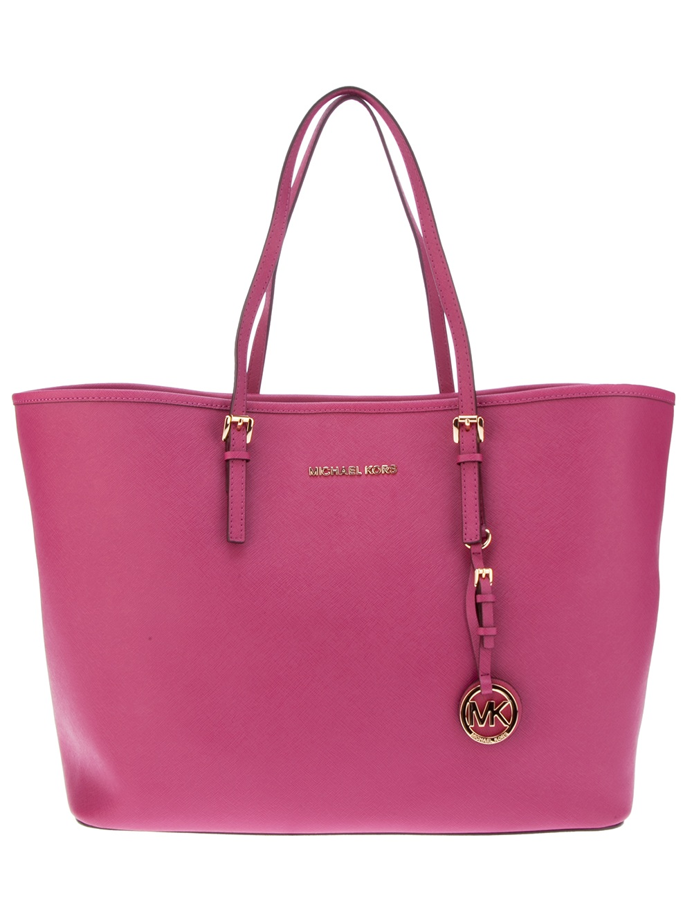 michael kors leather shopper tote in pink lyst. Black Bedroom Furniture Sets. Home Design Ideas