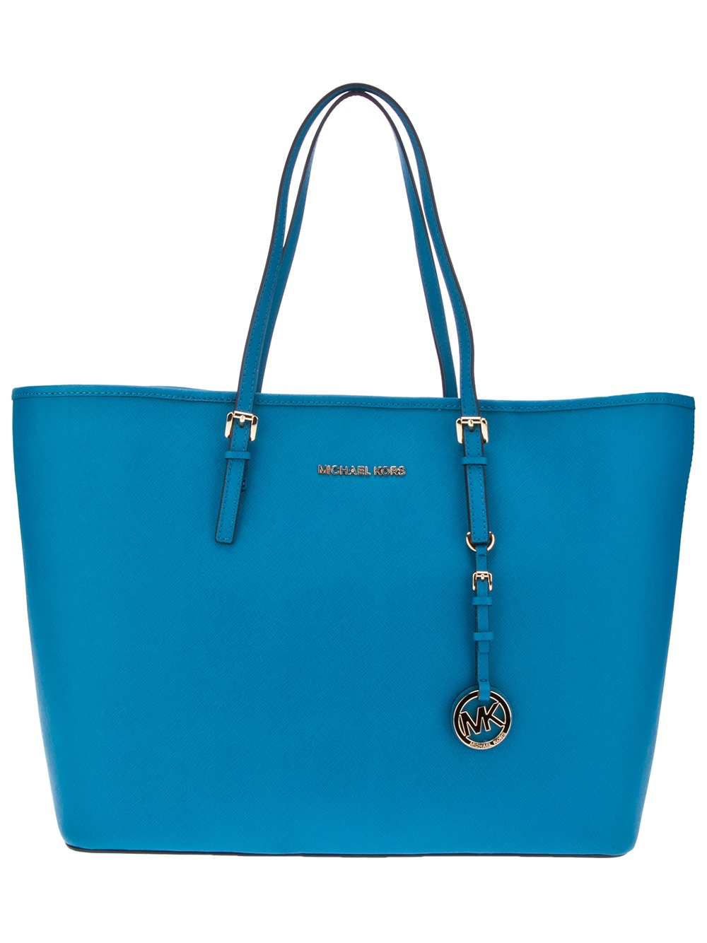 michael kors leather shopper tote in blue turquoise lyst. Black Bedroom Furniture Sets. Home Design Ideas