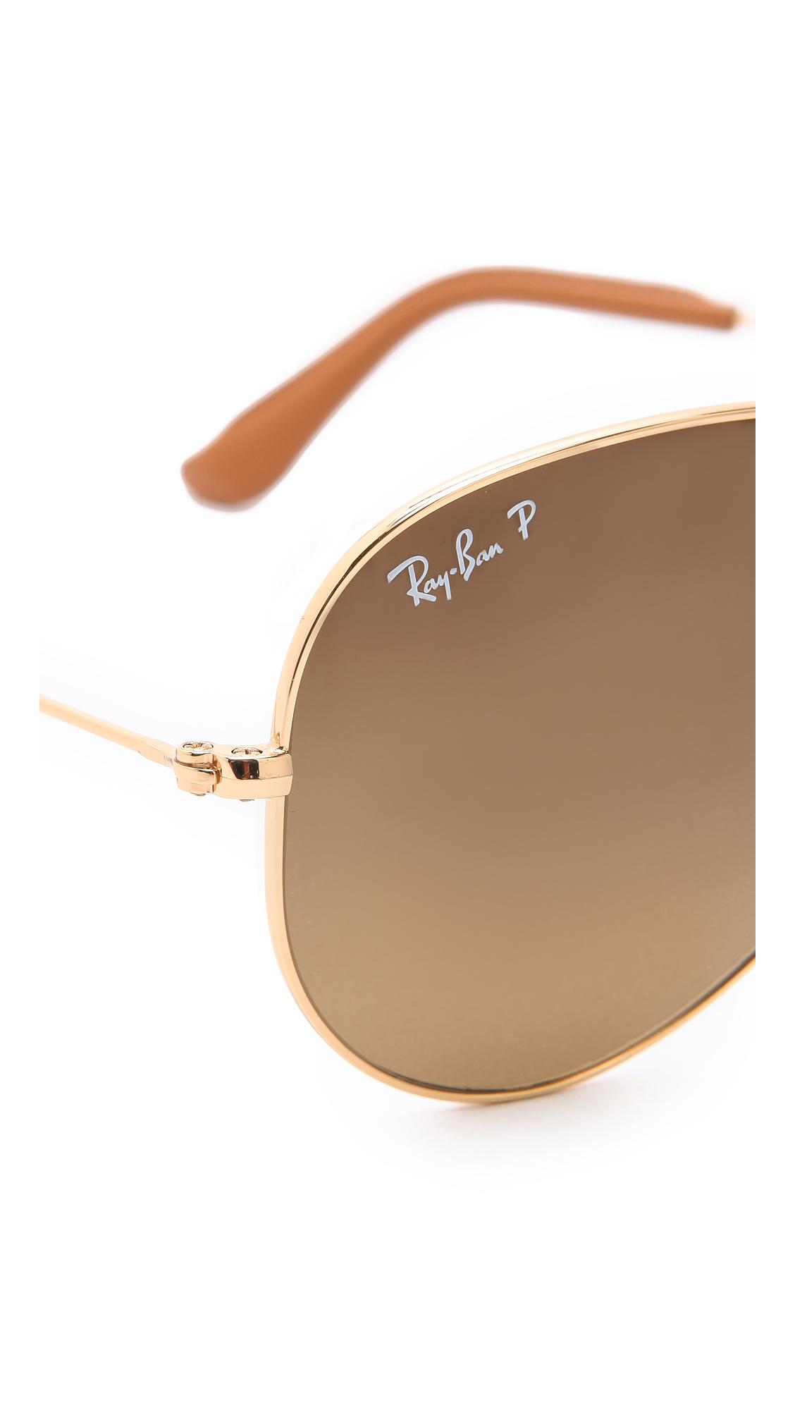 Lyst Ray Ban Polarized Folding Aviator Sunglasses In