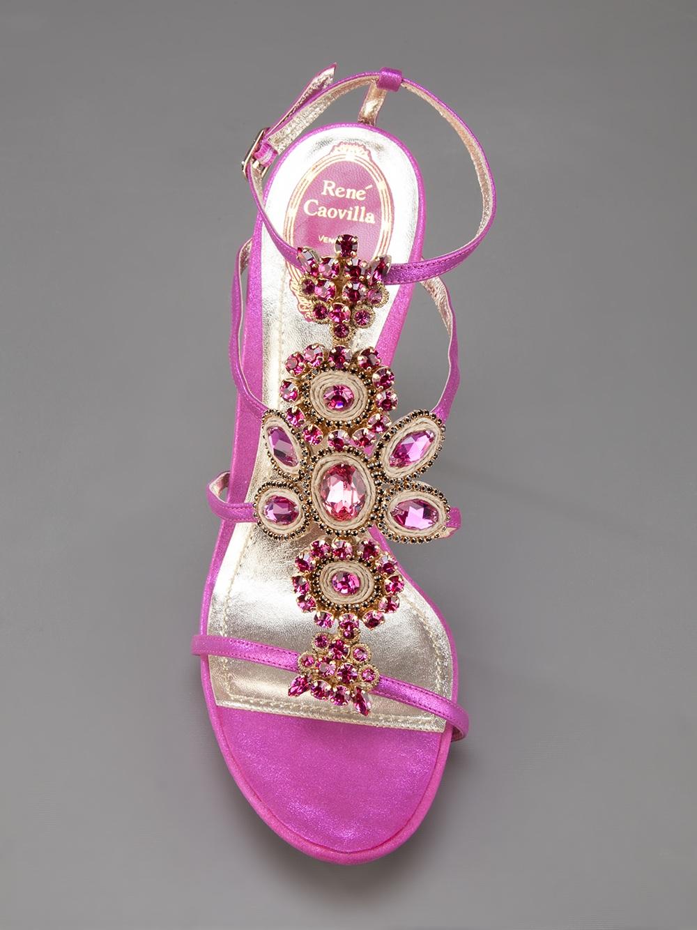 Rene Caovilla Jewel Embellished Sandal In Pink Lyst