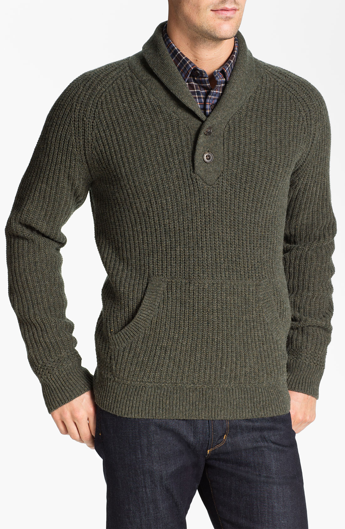 Merino Wool Shawl Collar Cardigan
