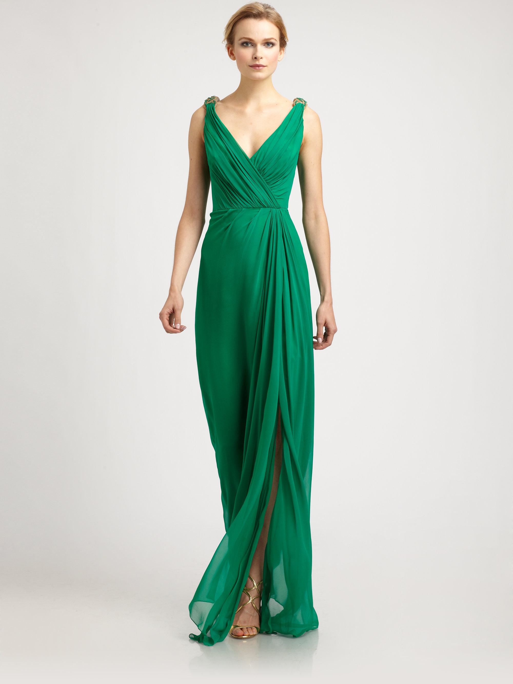 Green Chiffon Gown