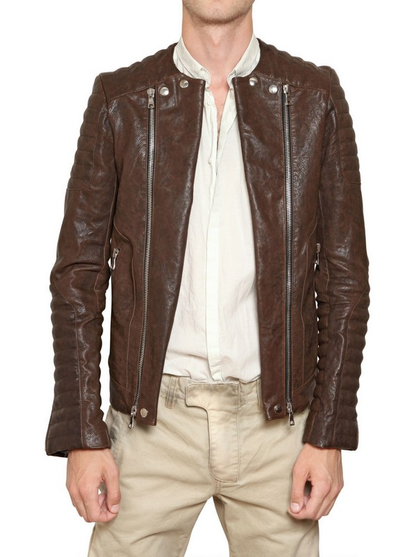 Balmain Nappa Leather Biker Jacket in Brown for Men | Lyst
