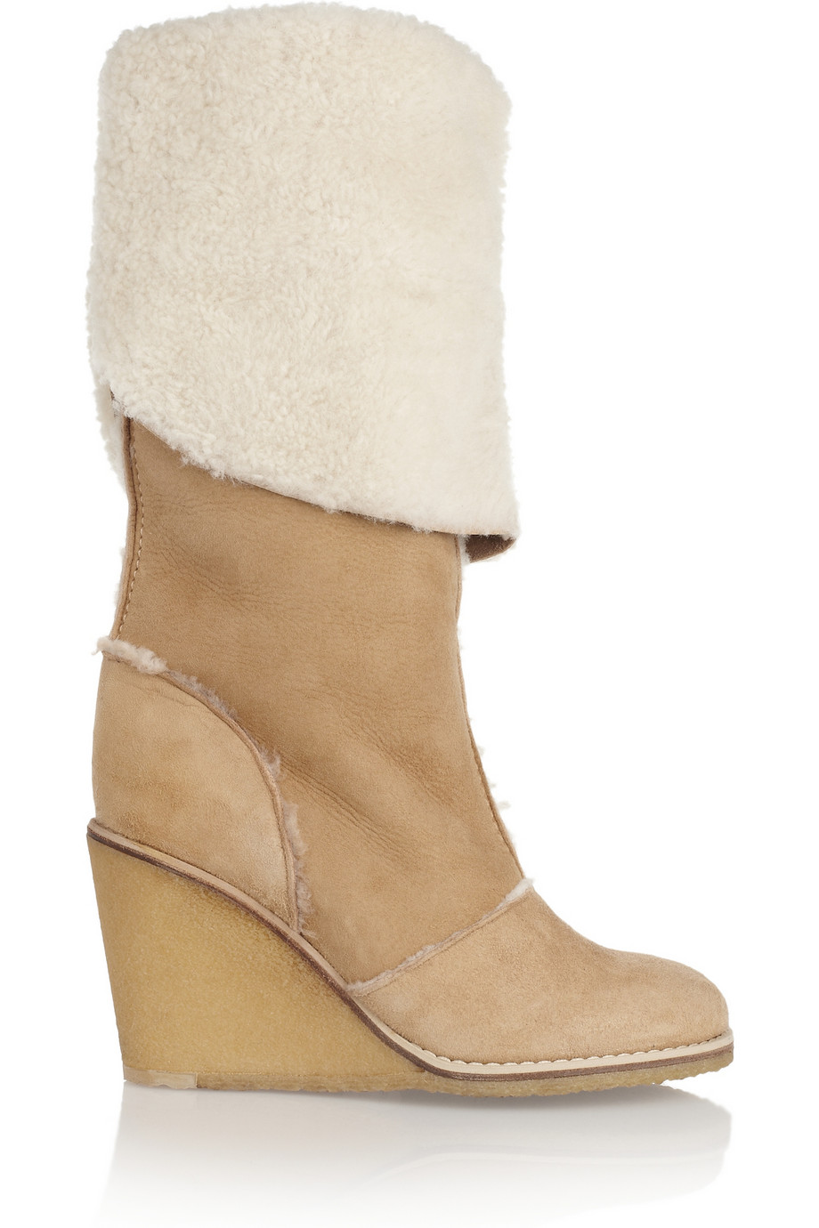 chlo 233 shearling wedge boots in lyst