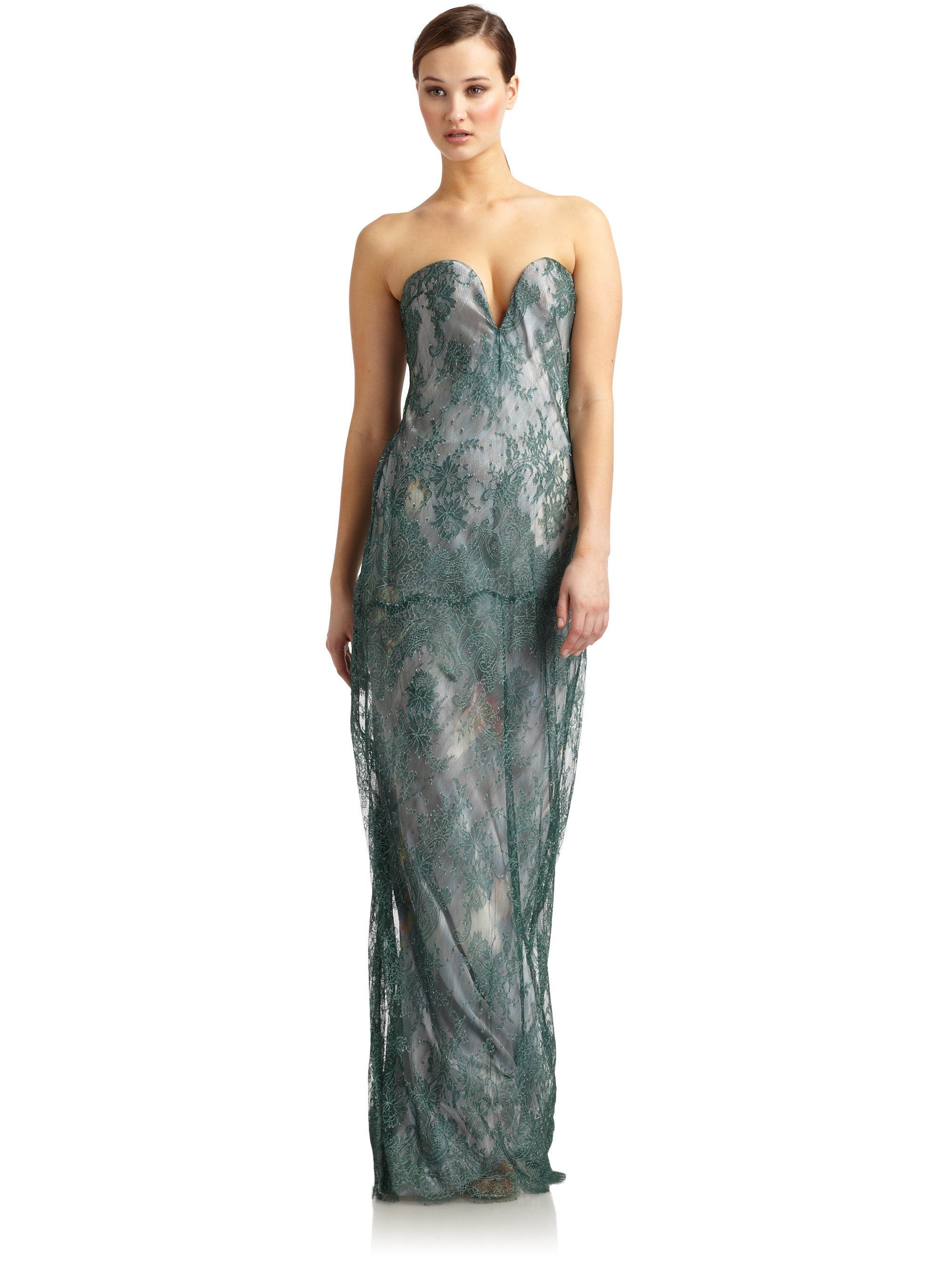 Lyst - Giorgio armani Floral Lace Strapless Gown in Green