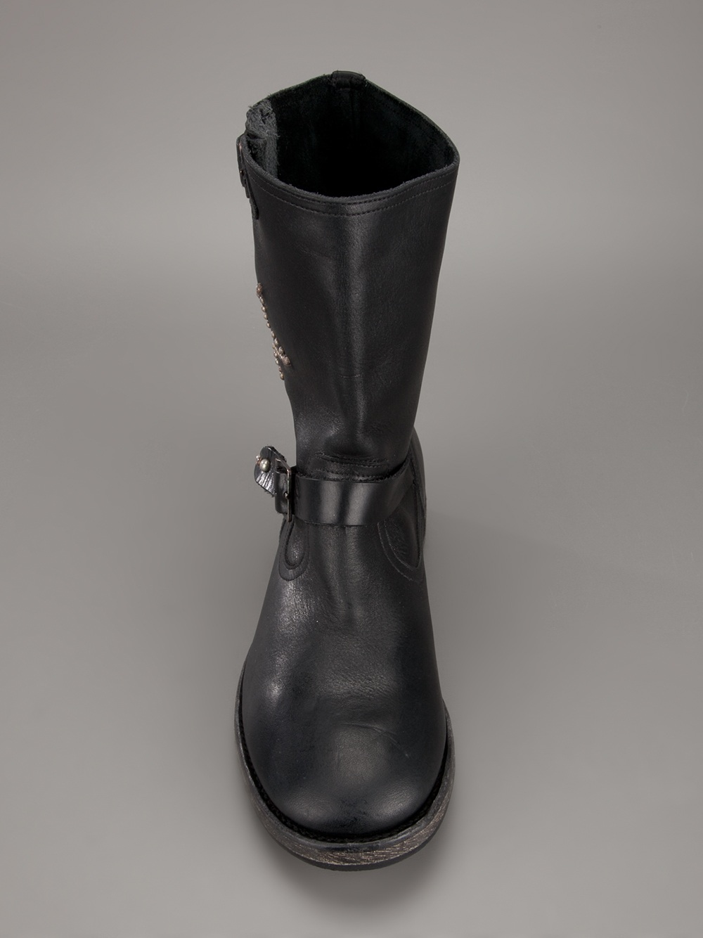 HTC Hollywood Trading Company Studded Calf-Leather Biker Boots in Black
