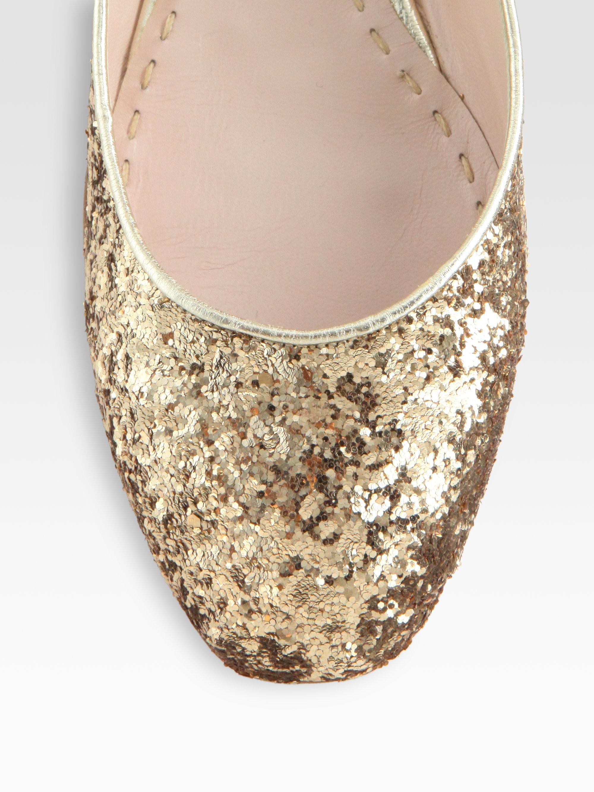 Miu Miu Glitter Rhinestone Heel Mary Jane Flats In Gold