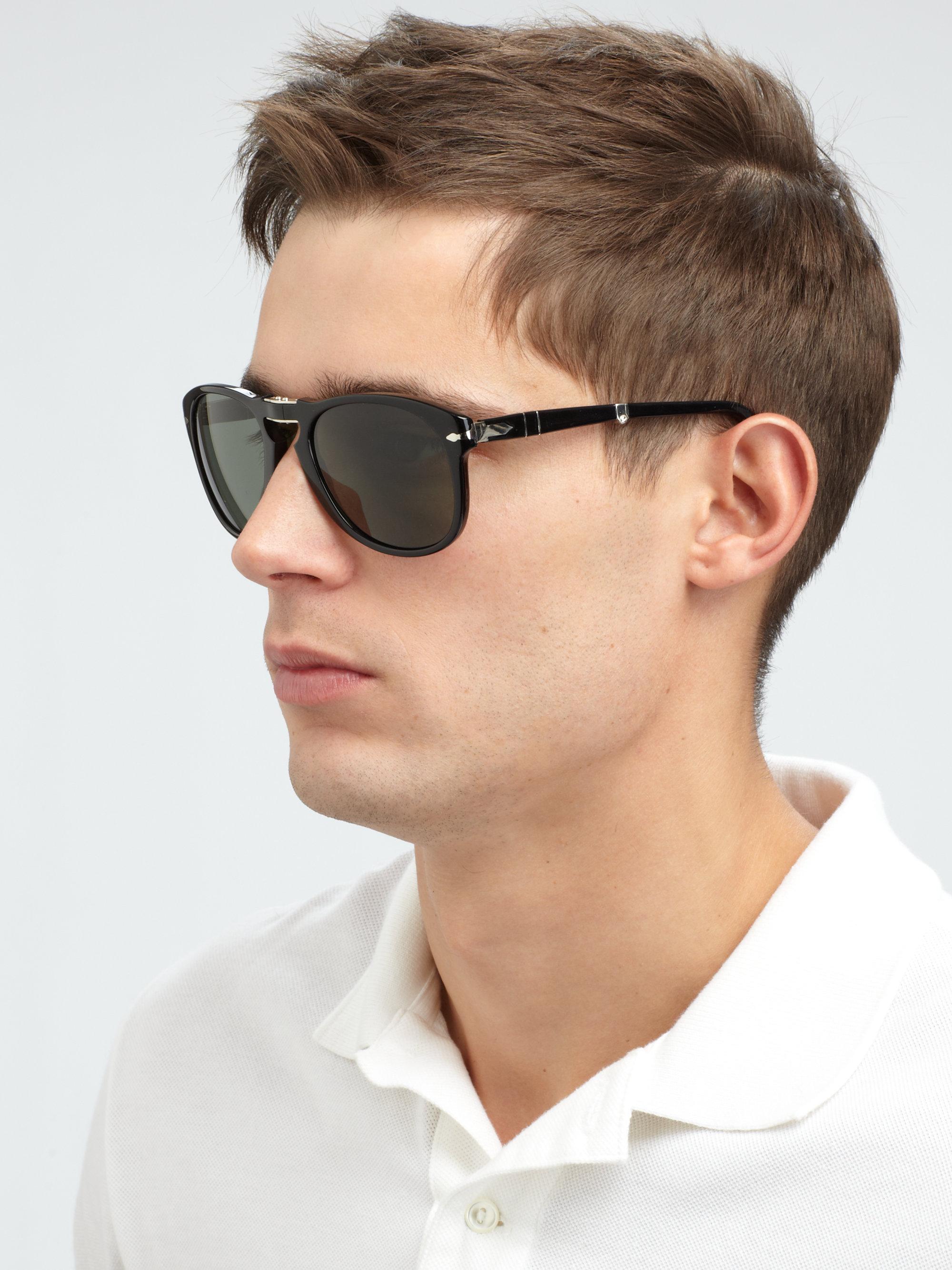 Persol Vintage Folding Keyhole Sunglasses In Black For Men