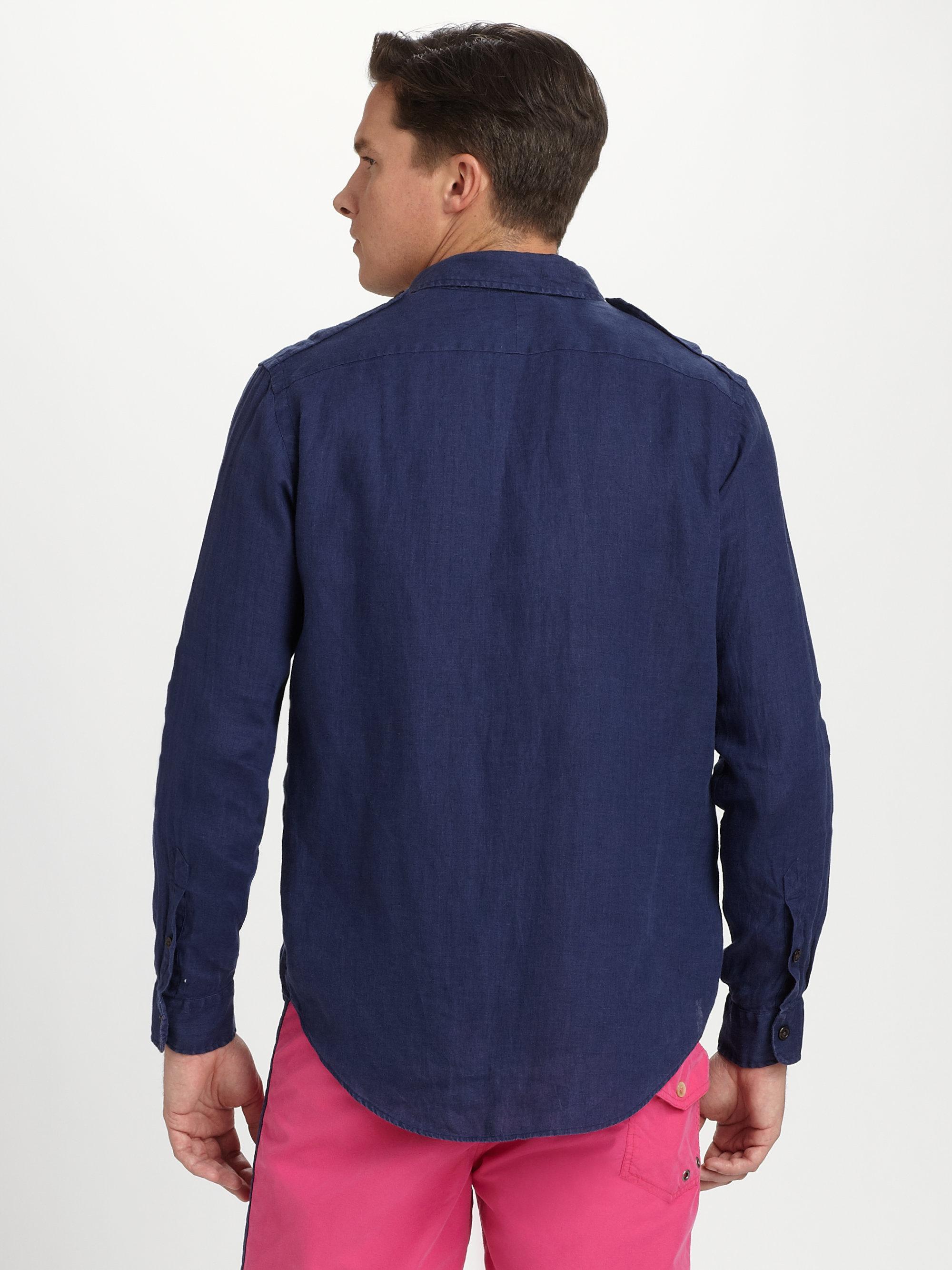 e9d6cec4614 ... ireland lyst polo ralph lauren linen military shirt in blue for men  5ab2d a2222