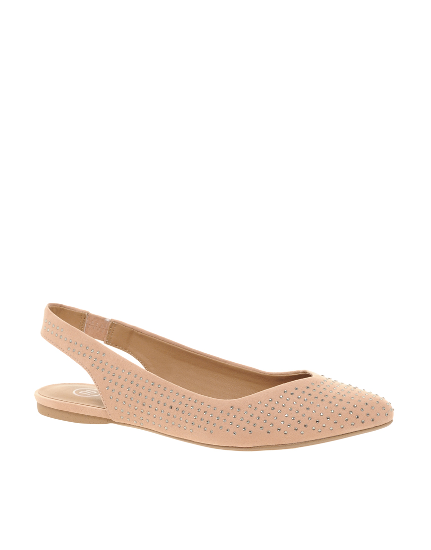 91dac0609398 Lyst - River Island Jewelled Pointed Ballet Flats in Natural