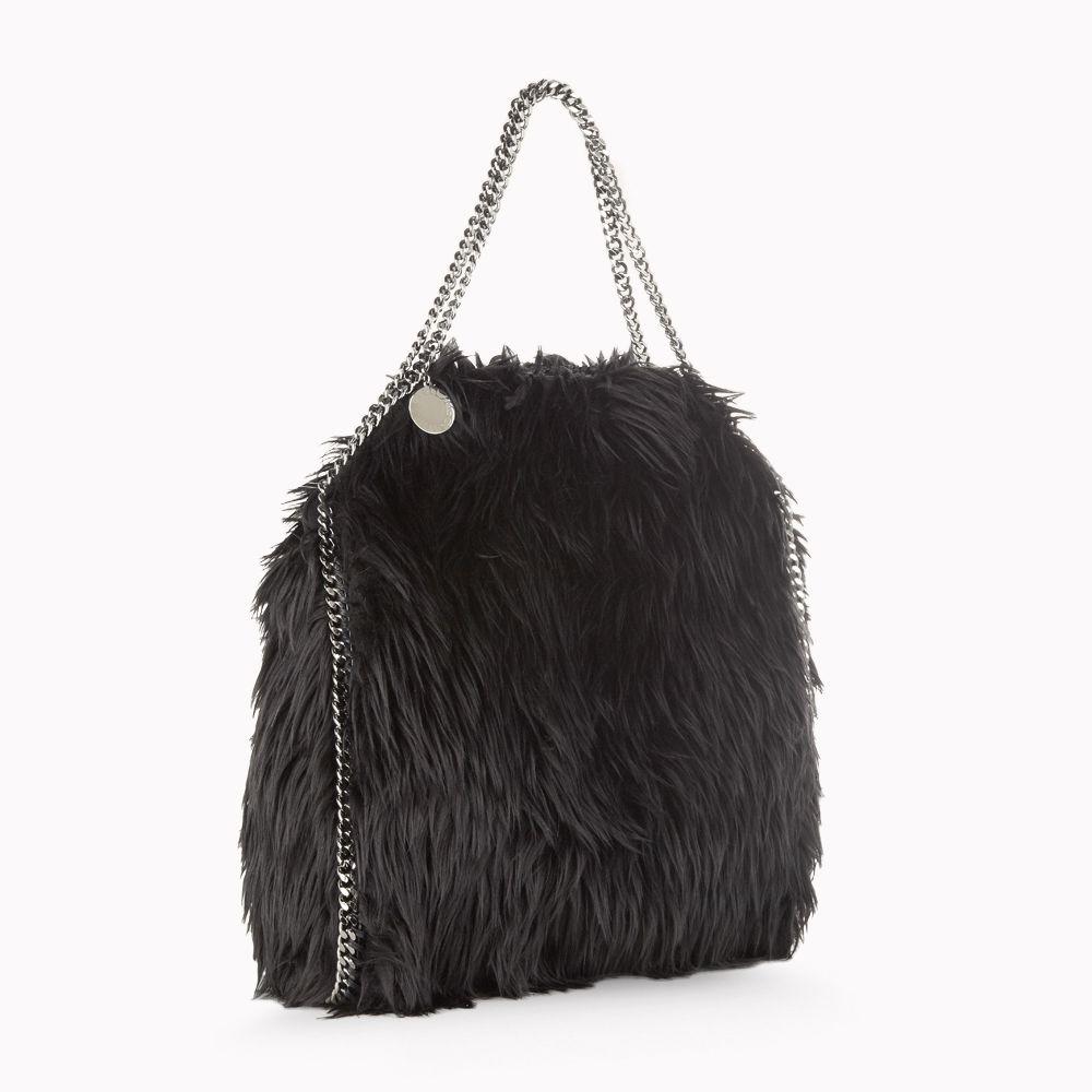 Lyst - Stella McCartney Faux Fur Falabella Small Tote in Black 3710bd512388c