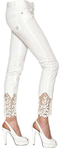 Blumarine Cotton Macramè Cotton Denim Jeans in White