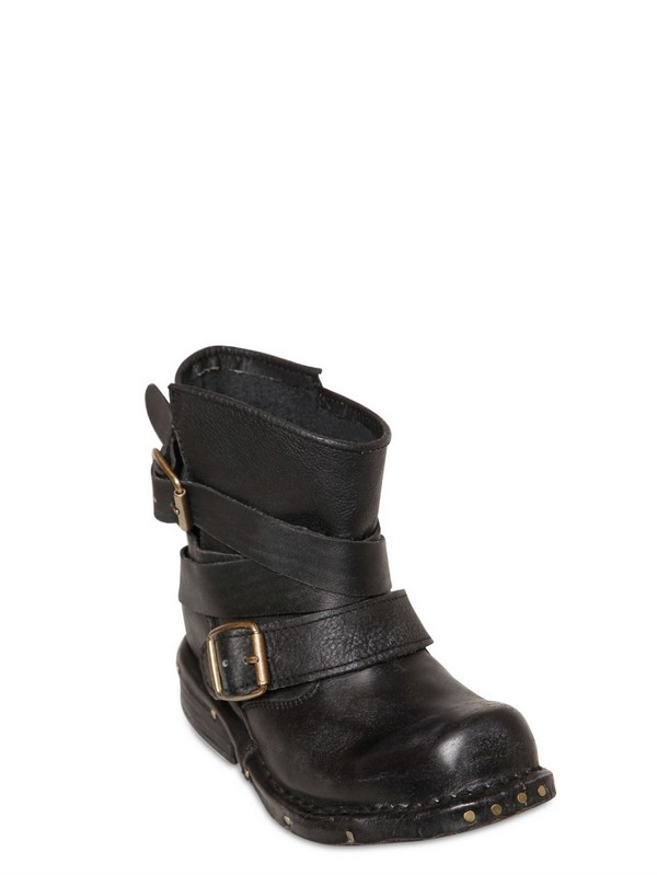 Jeffrey Campbell 40mm Calf Belted Low Biker Boots in Black