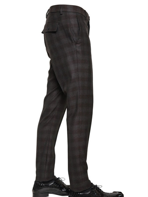 John Galliano Zipped Hem Checked Wool Trousers in Brown for Men