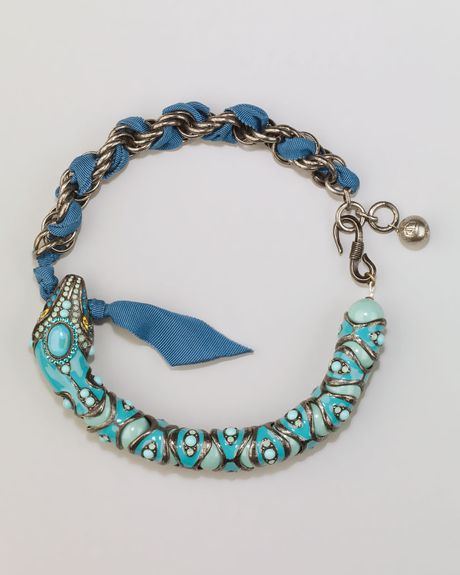 Lanvin Enamel Snake Choker Necklace Turquoise in Blue (turquoise)