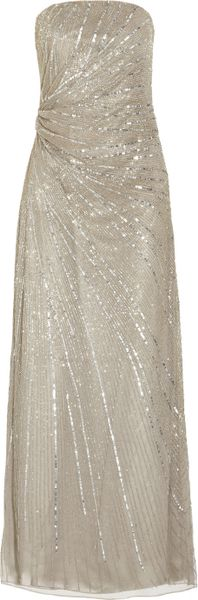 Paul & Joe Floride Strapless Beaded Tulle Gown in Silver