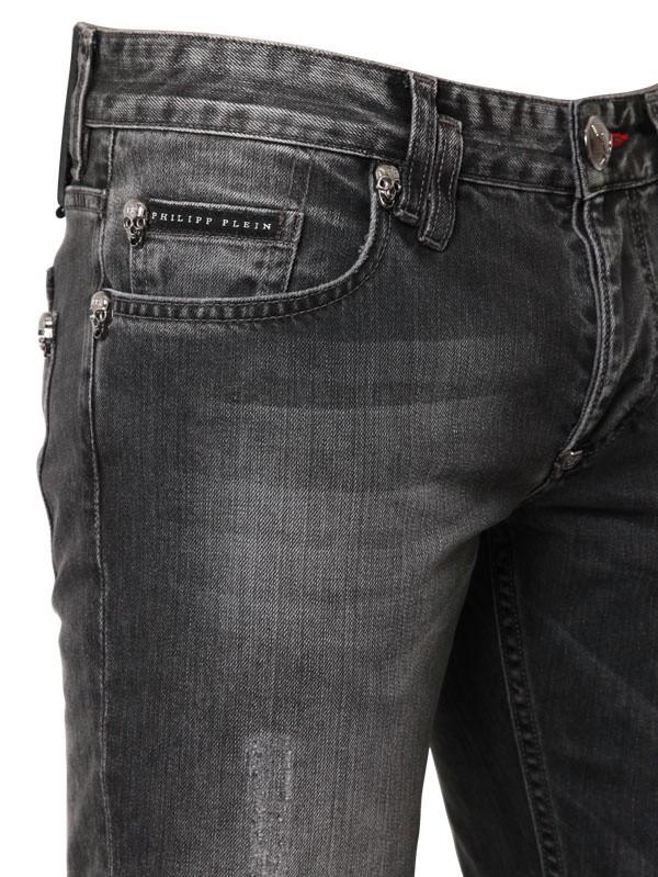 Philipp Plein 18cm Distressed Washed Denim Jeans in Grey (Grey) for Men