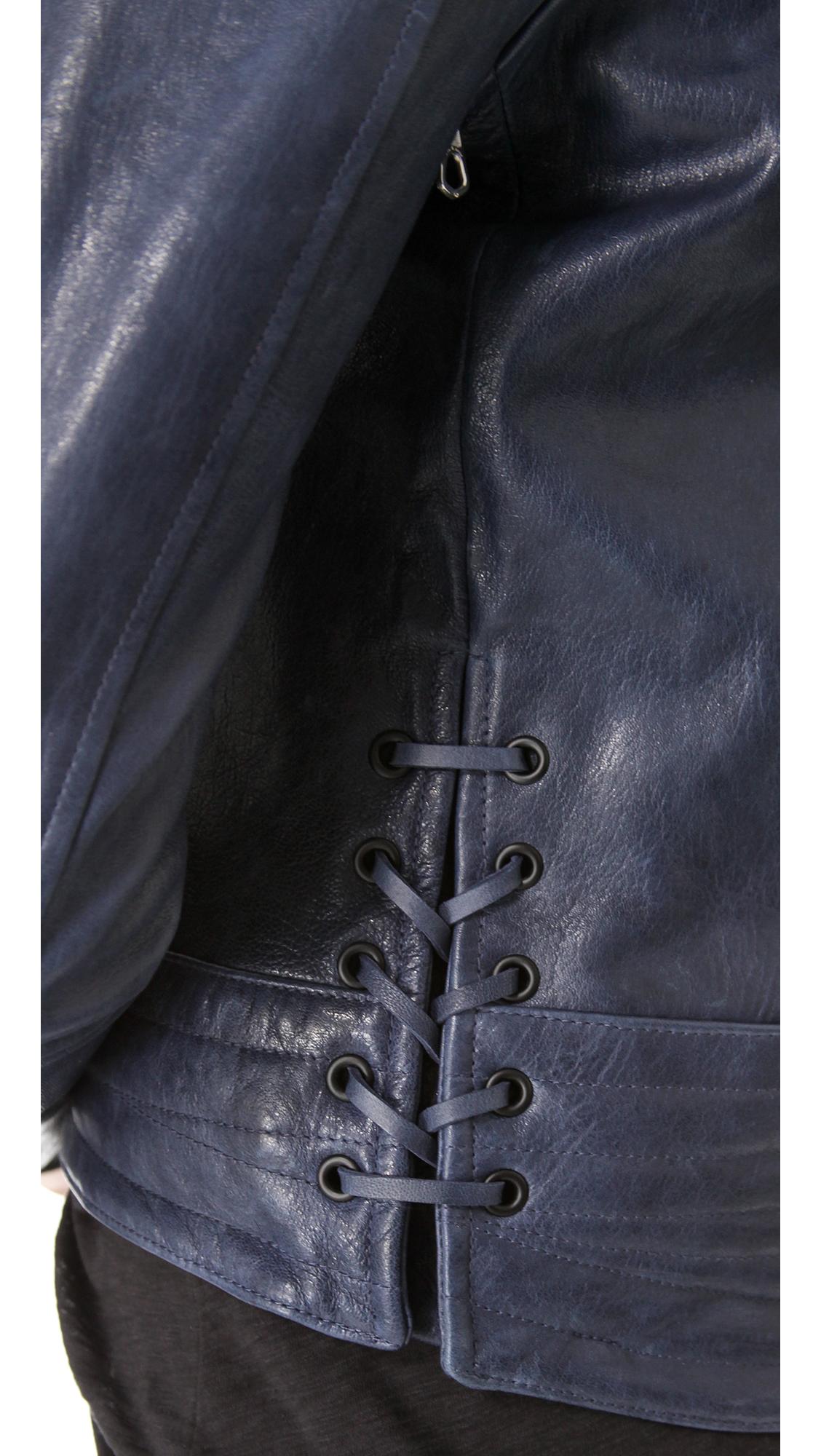 Rag Amp Bone Bowery Leather Moto Jacket In Blue Lyst