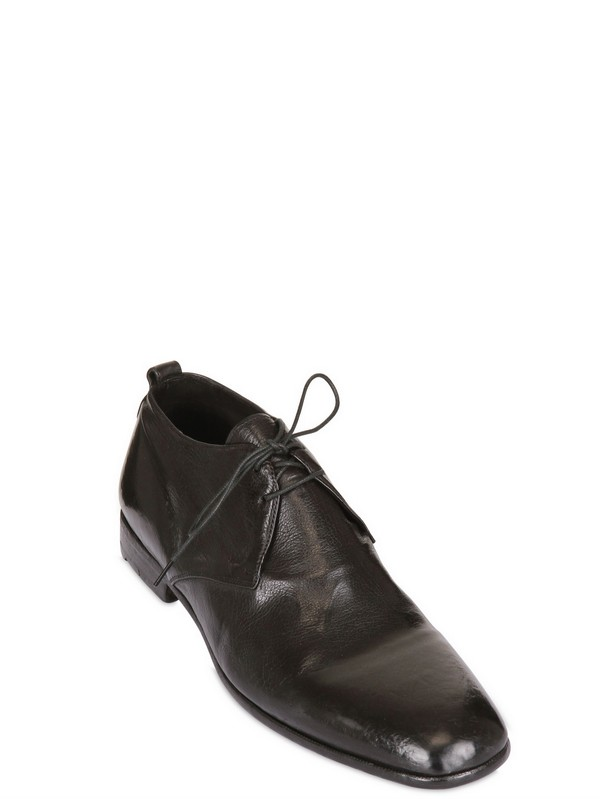 Alberto Fasciani Hammered Leather Lace-up Shoes in Black for Men