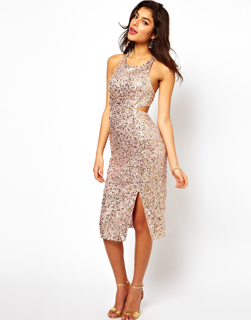 Lyst - ASOS Collection Holographic Sequin Dress in Pink c078eddb7