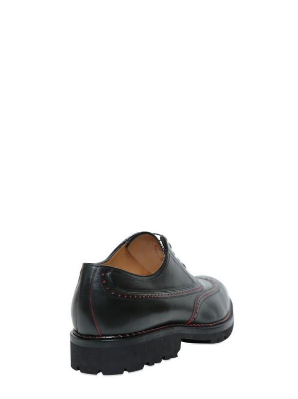 A.Testoni Two Tone Leather Brogues in Black for Men