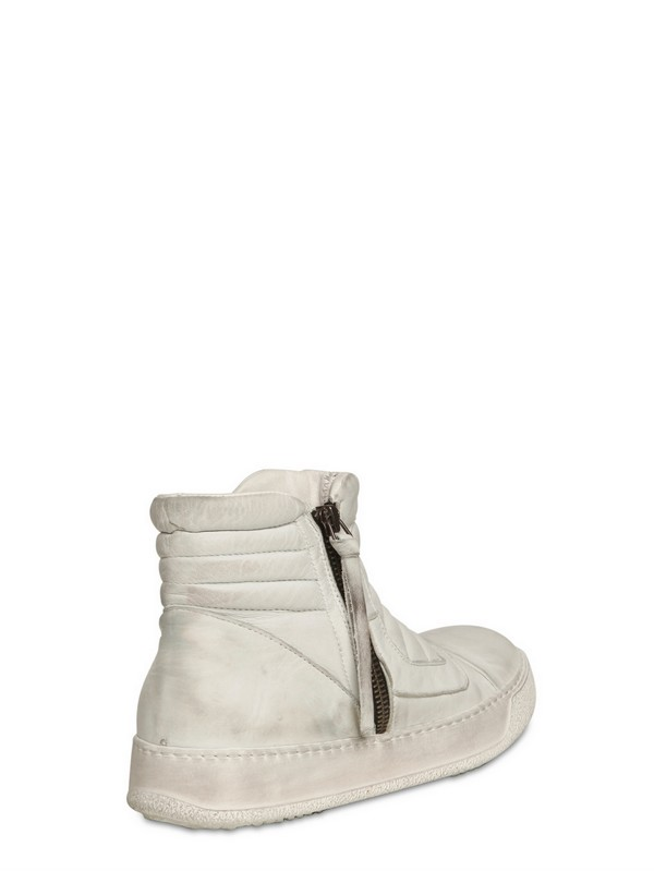 BB Bruno Bordese Padded Leather High Top Sneakers in White