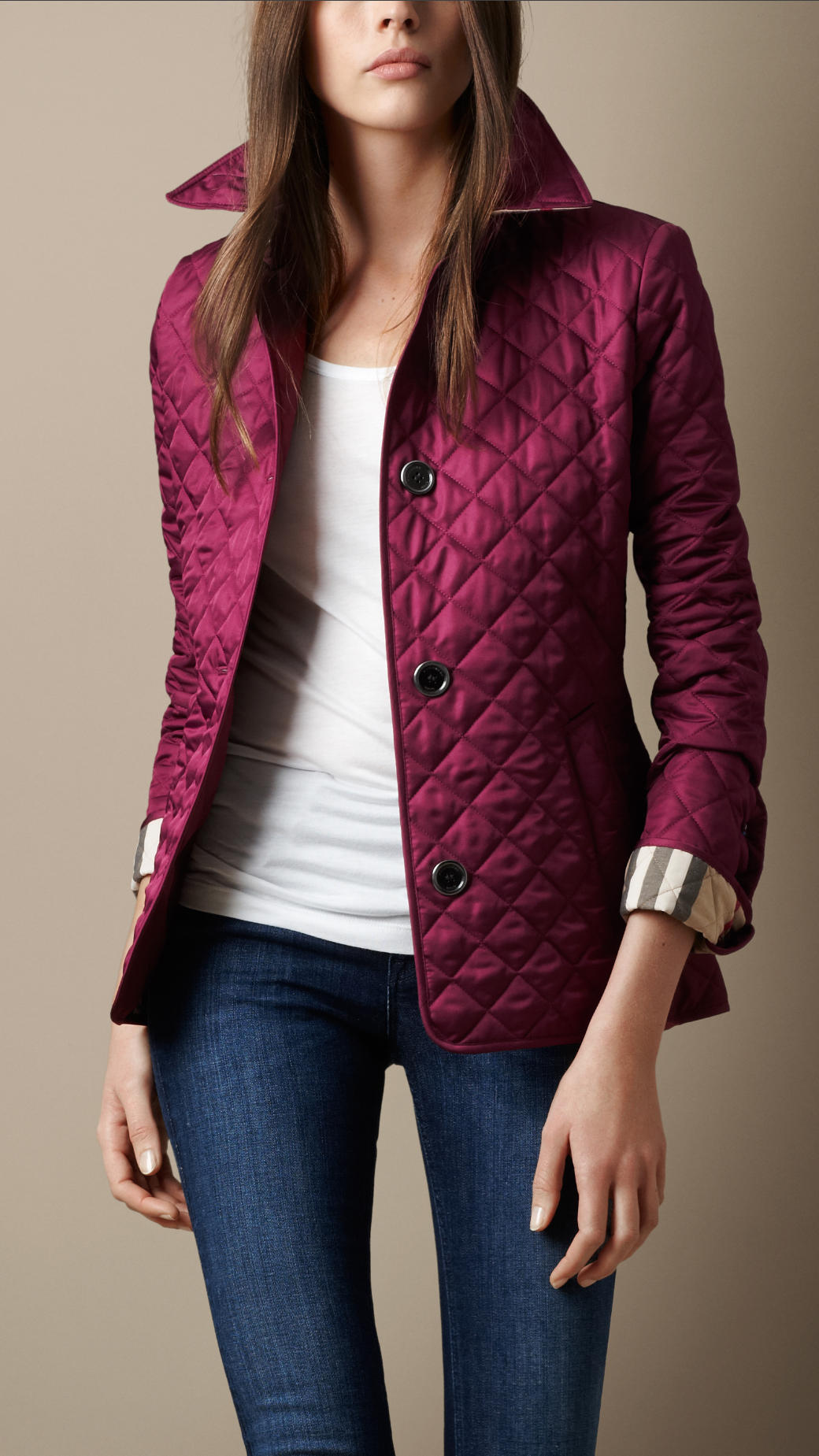Lyst Burberry Cinched Waist Quilted Jacket In Purple