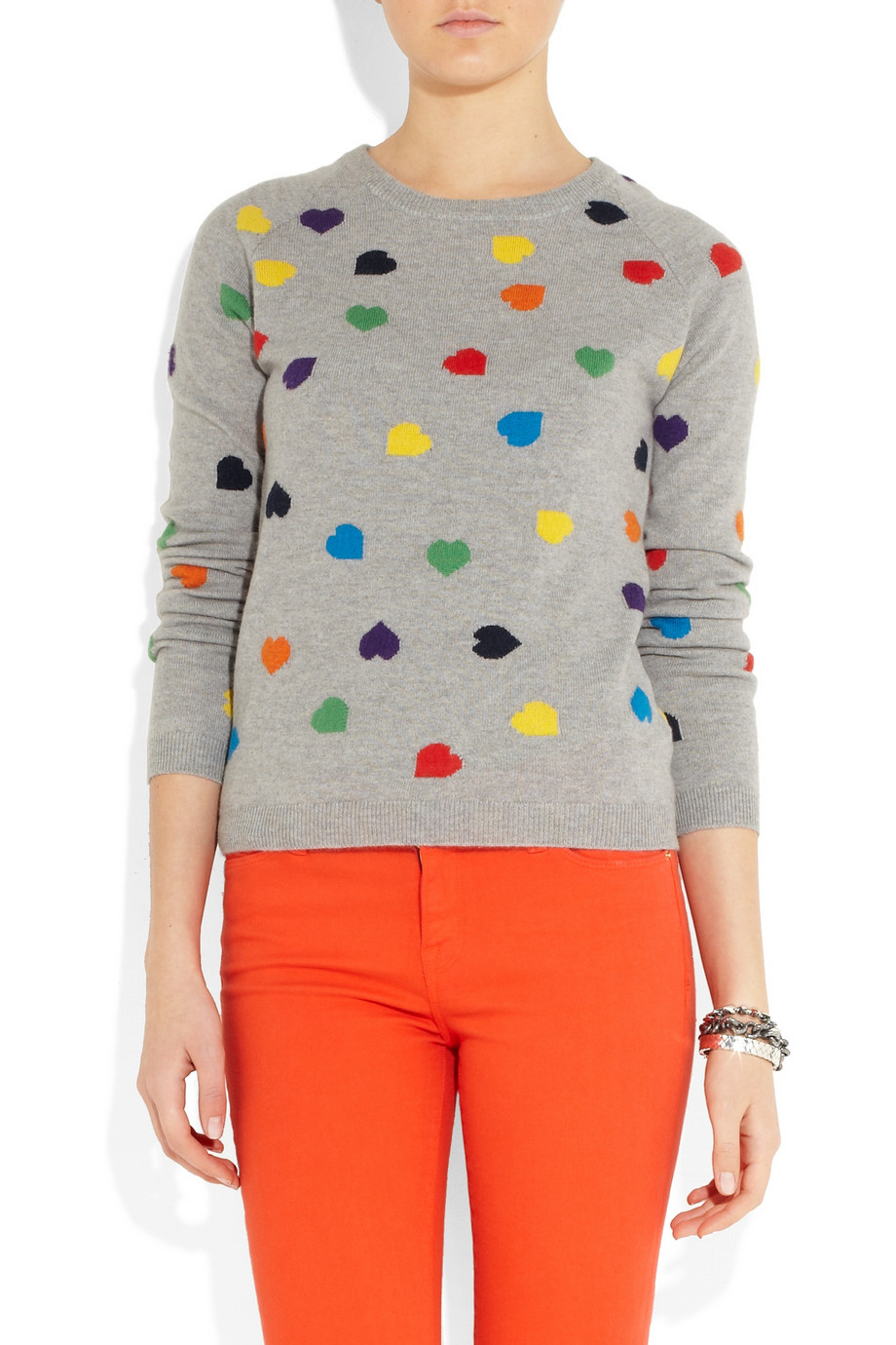 Lyst Chinti Amp Parker Heart Intarsia Cashmere Sweater In Gray