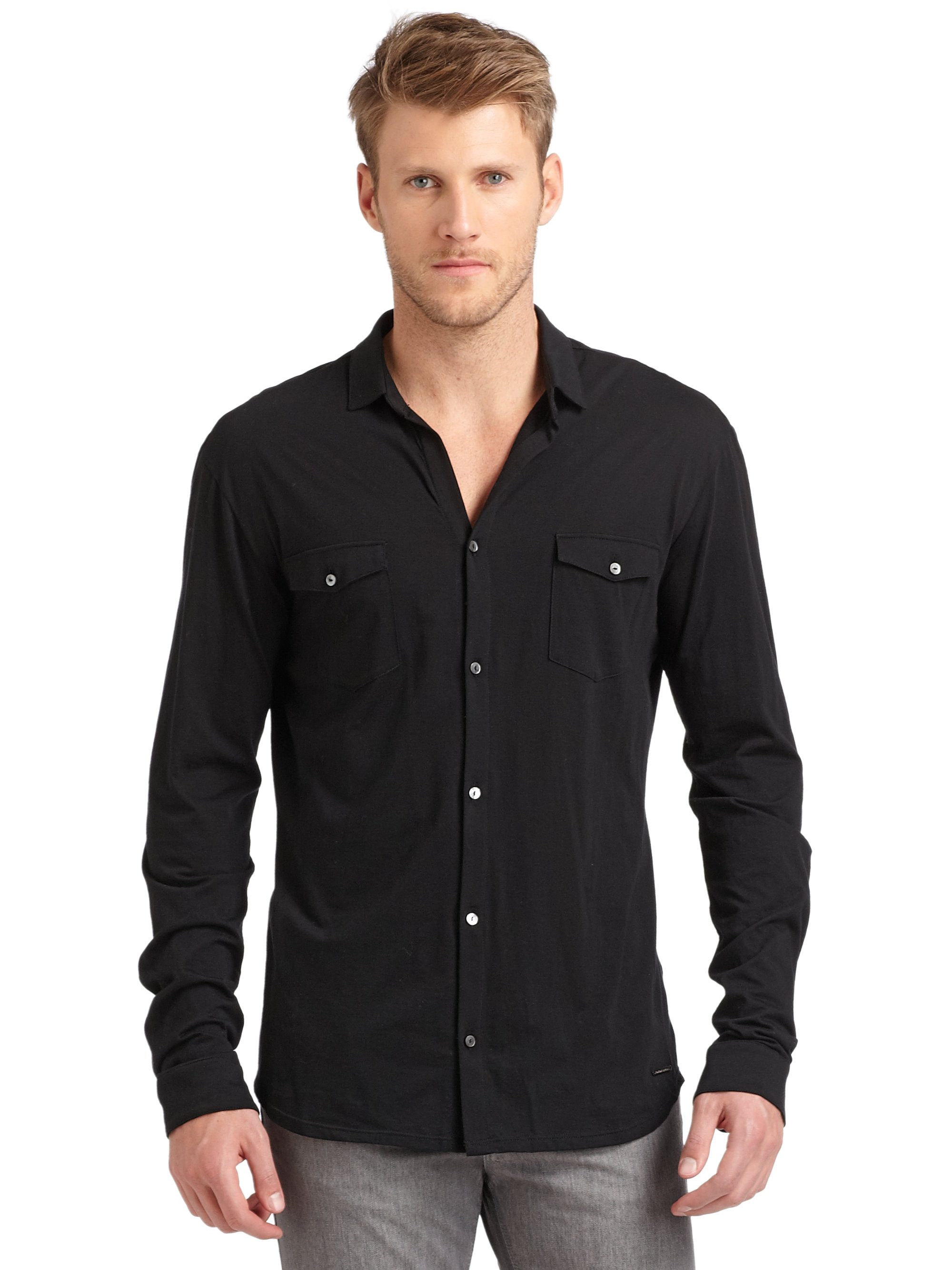 Costume national cotton button down shirt in black for men for Cotton button down shirts men