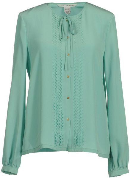 Diane Von Furstenberg Long Sleeve Shirt in Green (sky) - Lyst