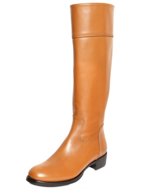 Diego Dolcini 25mm Calfskin Riding Boots in Camel (Natural)
