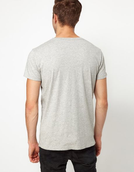 Diesel Graphic Print V Neck T-Shirt in Gray for Men (grey) | Lyst