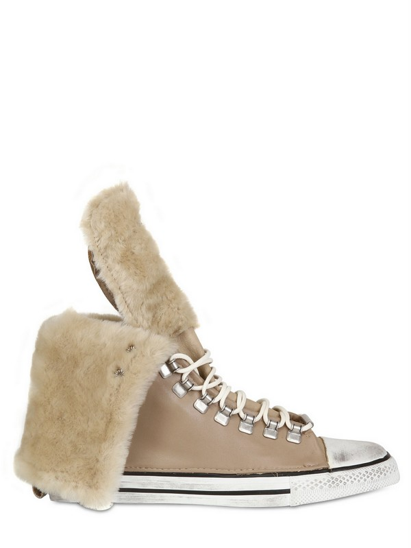 Black Dioniso Calfskin Shearling High Sneakers in Sand (Natural)